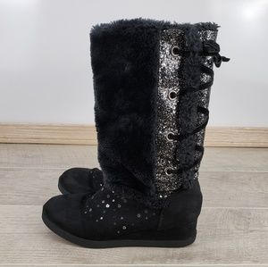 Justice Black Suede Wedge Boots ,Faux Fur